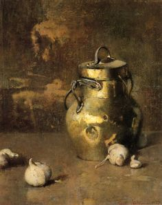 Brass Jar with Onions 1927 by American Painter Soren Emil Carlsen (1853-1932) ~ Blog of an Art Admirer