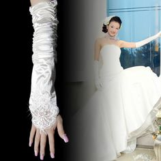 Wholesale White Satin Fingerless Elbow Length Wedding Bridal Formal Dress Gloves SKU-11201001