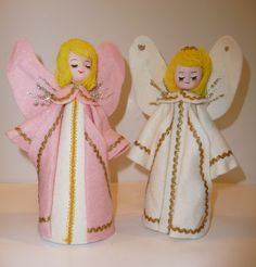 Cute Pair of Felt Angels Pink And White With Rick Rack  Glitter Japan