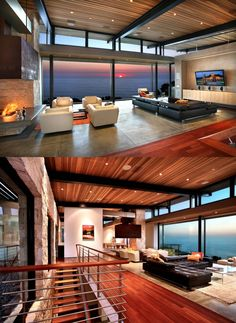 Home Designing — (via Living Rooms With Great Views) – Stylist Dream Home Design, Modern House Design, My Dream Home, Living Room Modern, Living Rooms, Contemporary Cottage, Contemporary Homes, Mid Century House, Home Fashion