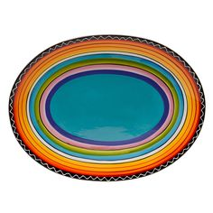 Bring a dose of fiesta-worthy color to your kitchen or dining area with this Tequila Sunrise serving platter, featuring an oval-shaped design with a black border. Crafted with ceramic, this dishwasher-safe piece is decked in hand-painted stripe accents.