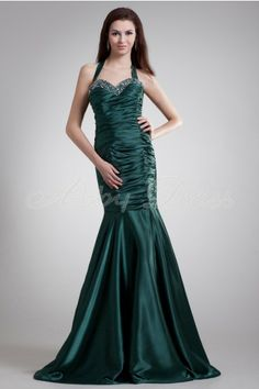 Mermaid Halter Crossed Straps Backless Beading Crystal Button Pleat Dropped Floor-length Taffeta Dress