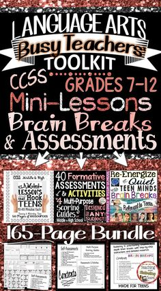 English Language Arts Busy Teacher's Toolkit Bundle for Middle and High School. Three of my latest and greatest products bundled here to help make your planning time a breeze! Middle school and secondary mini-lessons, brain breaks, and assessments provide a well-rounded mixture of tools for you.