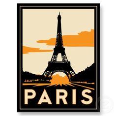 paris art deco retro travel poster postcard from Zazzle.com