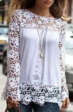 Sweet Crochet Lace Paneled Top