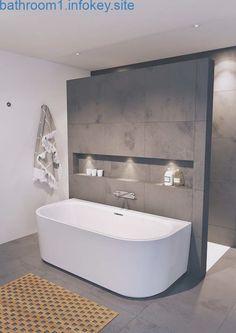 Modernes Badezimmer mit freistehender Badewanne Minimalist Bathroom Design, Modern Bathroom Design, Bathroom Interior Design, Interior Ideas, Minimal Bathroom, Bathroom Designs, Interior Modern, Simple Bathroom, Bathtub Designs