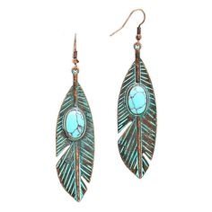Patina Verdigris Turquoise Stone Accented Metal Feather Drop Earrings