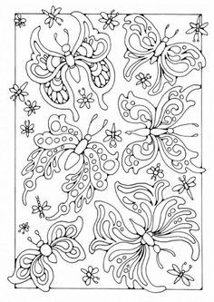 Coloring page butterflies (but could be used for a stamping pattern)