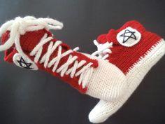 Crochet sneakers novelty slippers ankle wool socks by Solviashop #pottiteam