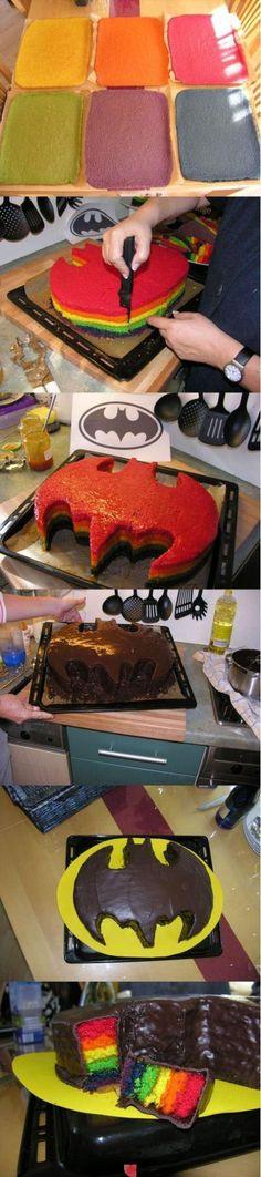 Rainbow Batman Cake {No recipe or instructions}