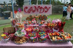 Colorful candy buffet - love the sign Candy Theme, Candy Party, Candy Buffet Tables, Candy Buffet Signs, Bar A Bonbon, Candy Display, Sweet 16 Birthday, Birthday Candy Bar, 13th Birthday Parties