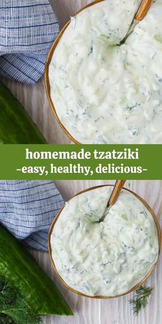 Creamy homemade tzatziki, an authentic Greek cucumber yogurt sauce, is easy to make and so delicious! Use tzatziki in a variety of ways, as a dip, dressing, or sandwich spread. Vegan Tzatziki, Tzatziki Recipes, Homemade Tzatziki, Grilled Vegetables, Grilled Meat, Sauce Recipes, Cooking Recipes, Healthy Recipes, Appetizer Dips