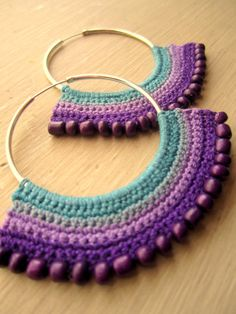 Crocheted Hoops, purple and blue tones