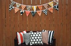 Double Sided Fall & Halloween Fabric Bunting Banner - Main Photo