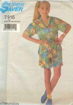 Simplicity 7915 Girls Shirt and Shorts size 10 12 by ReduxPatterns (Craft Supplies & Tools, Patterns & Tutorials, Sewing & Needlecraft, Sewing, girl, preteen, shirt, shorts, summer, simplicity, super saver, sewing, clothing, reduxpatterns, blouse)