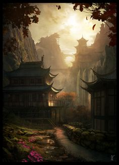 Digital Painting Inspiration Vol. 28 - : Digital Painting Inspiration Vol. Fantasy Artwork, Fantasy Concept Art, Fantasy Paintings, Final Fantasy, Landscape Concept, Fantasy Landscape, Landscape Art, Asian Landscape, Fantasy Art Landscapes