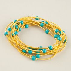 Piano Wire with Turquoise Bracelet | Bee Charming