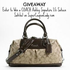 Giveaway: Enter to Win a COACH Ashley Signature LG Sateen Satchel   SuperCouponLady.com Brown Coach Purse, Coach Outlet, Coach Purses, Purses And Bags, Brown Purses, Cute Purses, Big Bags, Purse Wallet, Wristlets