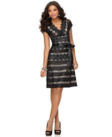 JS Collections Cap-Sleeve Lace Dress