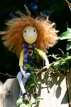 Pippi Longstocking Art Cloth doll