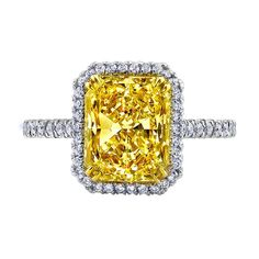 BHJewelers.com  8.00 CARAT FANCY YELLOW RADIANT CUT DIAMOND HALO ENGAGEMENT RING