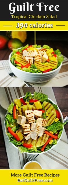 Grilled pineapple atop a bed of romaine lettuce, sweet corn, red peppers, grilled chicken breast – served with a mango chipotle dressing.