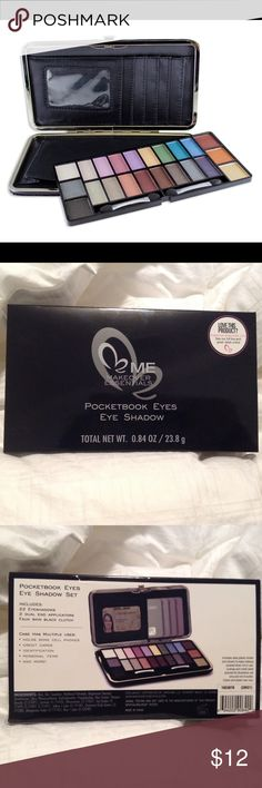 Eye Shadow Wallet Includes 22 eyeshadow, 2 dual end applicators, in a faux skin black clutch. Case has multiple uses: holds some s cell phones, credit cards, ID cards, personal items, and more! GREAT FOR TRAVELING! ME Makeover Essentials Makeup
