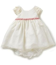 Laura Ashley London Baby Girls 12-24 Months Ruffle-Sleeve Clip Dot A-Line Dress | Dillards