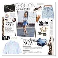 """SheIn Denim Skirt"" by minojka ❤ liked on Polyvore featuring Acne Studios, Stuart Weitzman, Chanel, Oris, Ray-Ban, MAC Cosmetics, denim, skirt, Sheinside and DenimStyle"