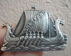 Silver Viking Ship Brooch - Shetland 1960s