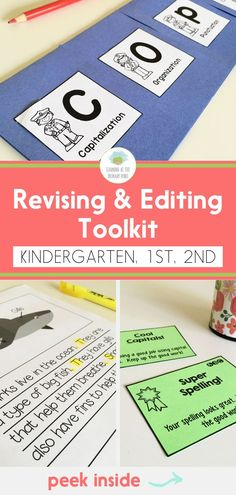 Revising and Editing Toolkit for Kindergarten, First, and Second Grade Writing Rubrics, Writing Strategies, Editing Writing, Persuasive Writing, Writing Worksheets, Writing Lessons, Opinion Writing, Paragraph Writing, Fiction Writing