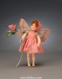 *FELT ART ~ The Red Clover Fairy, BY: R. John Wright Collectible Dolls. Sculpural molded felt body + hands.