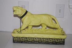 Vintage Mid Century Modern Lane & Co. Tiger Planter Yellow Green Eyes with Stand #LaneCo