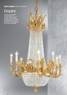 Empire chandelier and sconce in antique silver christopher hyde empire chandelier in french gold aloadofball Choice Image