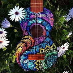 "culturenlifestyle: ""Psychedelic Mandala Inspired Illustrations by Lauren Swan Australian artist Lauren Swan's deep passion for the sea and its infinite deep blue beauty reigns high in every piece of. Ukulele Art, Guitar Art, Luna Ukulele, Guitar Painting, Diy Painting, Painted Ukulele, Painted Guitars, Ukulele Design, Hippie Vibes"