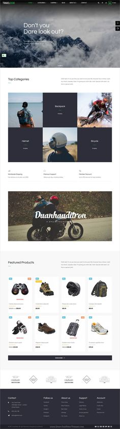 Travel gear is clean and modern design 5in1 responsive #Prestashop theme for sports activity #clothing and traveling gear stores #eCommerce website download now..