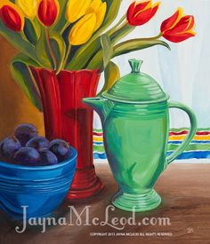Coffeepot with Tulips - two of my favorite things.