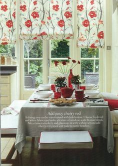 Choose fresh red and white fabrics and make a feature of windows with Roman blinds. Mix crimson crockery and glassware in with a white set and add cherry red-piped seat pads to rustic benches. Traditional Family Rooms, Rustic Bench, Dining Room Inspiration, Natural Home Decor, Seat Pads, White Fabrics, Dining Room Table, Beautiful Homes, House Beautiful
