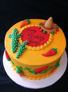 Mexican sombrero chilis cactus cake                                                                                                                                                      More