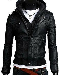 handmade Men black fabric hooded Leather Jacket rib by ukmerchant, $159.99 Christmas present for the boyfriend :)