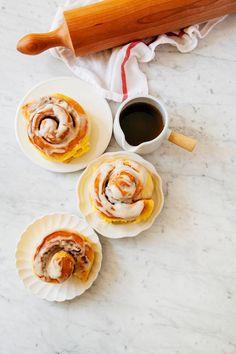 brown butter pumpkin rolls with a vanilla bean crème fraîche glaze - Hummingbird High - A Desserts and Baking Food Blog in San Francisco