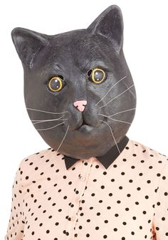 The Purr-fect Disguise Mask. Up your costume game by pulling on this cat mask! #black #modcloth - THIS IS WAYY TOO SCARY