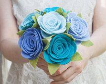 "Felt Bouquet - Wedding Bouquet - Brides Maid Bouquet - ""Blue Bird"""