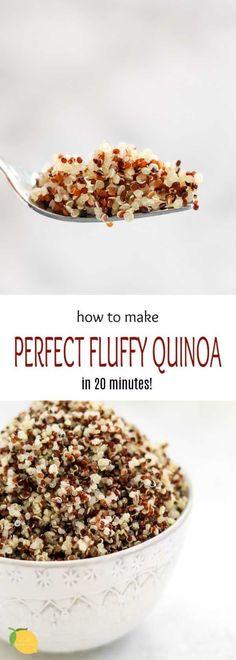 How To Cook Perfect Quinoa Plus 10 Quinoa Recipes - How to cook the perfect fluffy quinoa plus 10 delicious quinoa recipes that are all gluten free, vegan, and easy to make. How To Cook Perfect Quinoa Plus 10 Quinoa Recipes Quinoa Recipes Easy, Vegan Dinner Recipes, Dairy Free Recipes, Mexican Food Recipes, Sweet Recipes, Whole Food Recipes, Cooking Recipes, Healthy Recipes, Easy Recipes