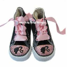 Bedazzled pink baby shoes ribbon laces