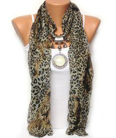 leopard jewelry scarf with big rhinestone pendant