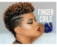 Fantastic Finger Coils on a Tapered Cut on Natural Hair shows you how to achieve a simple, yet elegant spiral curled style by alexandra Coiling Natural Hair, Tapered Natural Hair Cut, Finger Coils Natural Hair, Tapered Afro, Curly Hair Styles, Natural Hair Styles, Twa Hairstyles, Haircuts, Amazing Hairstyles
