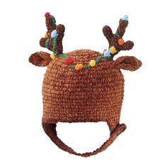 Look at this Brown Reindeer Earflap Beanie - Infant & Kids by San Diego Hat Company Reindeer Hat, Reindeer Antlers, Reindeer Lights, Crochet For Kids, Crochet Baby, Knit Crochet, Crocheted Hats, Crochet Things, Crochet Granny