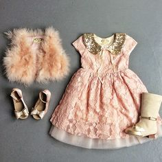 Glitter collar and fur vest