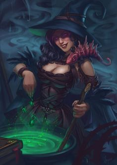 Fantasy Art Frog Witch
